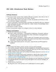 Religions of the East 100 Hinduism Test Notes