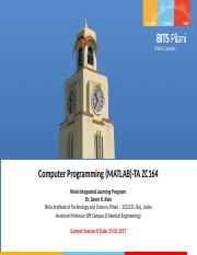Computer Programming(MATLAB) Contact Session 8
