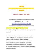 PHL 320- Vague Statements Worksheet docx - Vague Statements