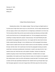 College Writing Reading Response