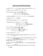 Review Exercises for the Mid-term - Alg. 1(Solutions).doc