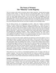 Notes - Week 12 - The Status of Women - The Minority in the Majority