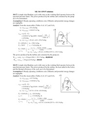 Homework 7 Solution on Thermodynamic System Engineering