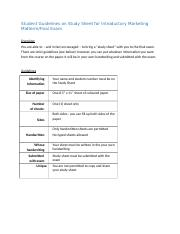 Guidelines for Final Exam Study Sheet for Introductory Marketing.docx