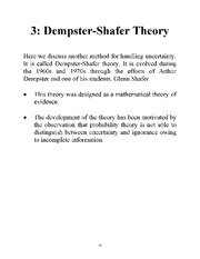 Dempster - Shafer Theory notes