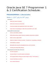 Oracle Java SE 7 Programmer 1_2 Schedule