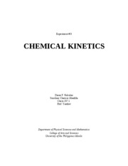 chemical kinetics lab report Kinetics lab editor's note: here 's lab report, completed during the oxidation unit in the case that there were not appropriate amounts of chemical solutions.