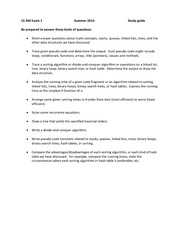 Exam 1 Study Guide Summer 2014 on Data Structures and Algorithms