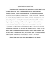 Chapter Twenty-One (Professional Ethics) Reflection Paper