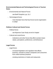 Environmental Natural and Technological Forces in Tourism Notes