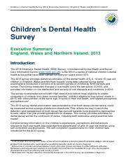 Children's Dental Health Survey Executive Summary England, Wales and Northern Ireland, 2013