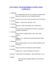 Fun Ways to Remember States anD Capitals