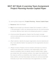 MGT 437 Week 4 Learning Team Assignment Project Planning-Human Capital Paper