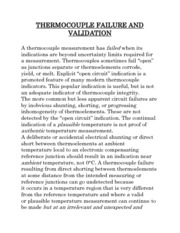 THERMOCOUPLE FAILURE AND VALIDATION