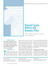 Payment System Reforms and Monetary Policy