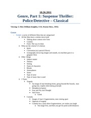 10.26.2011 Genre, Part 1, Suspense Thriller, Police&Detective, Classical