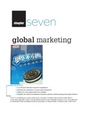 Chapter 7 Notes - Global Marketing