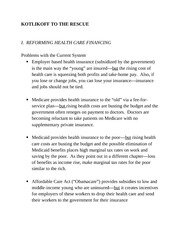 Reforming Healthcare Outline