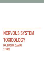 NERVOUS SYSTEM TOXICOLOGY