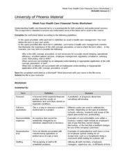Week Four Health Care Financial Terms Worksheet