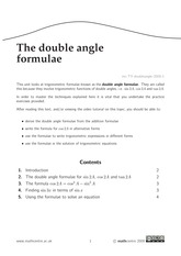 The double angle formulae
