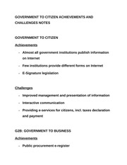 GOVERNMENT TO CITIZEN ACHIEVEMENTS AND CHALLENGES NOTES