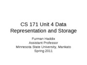 CS 171 Unit 4 Data Representation and Storage