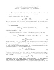 Physics 137A Midterm 1 Solutions