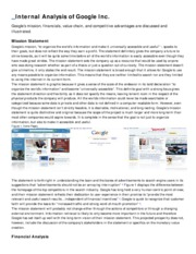Internal Analysis - Google Inc.