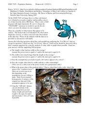 Morph Homework (Blue Crabs)