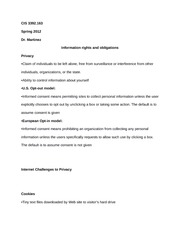 CIS 3392.163 Notes on Information rights and obligations