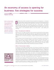 An economy of access is opening for business five strategies for success