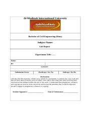 Sample Lab Report (Civil Engineering)