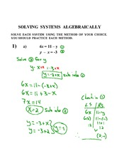 SOLVING A SYSTEM ALGEBRAICALLY WORKSHEET answers