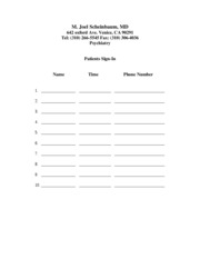 Sign-in sheet