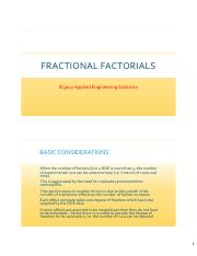 Lecture Notes 6 Fractional Factorial