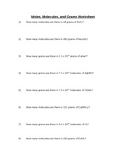 Moles Molecules and Grams Worksheet Answer Key 1 How many ...