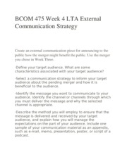 BCOM 475 Week 4 LTA External Communication Strategy