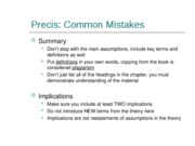 Tips for Precis Papers