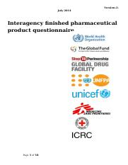 InterAgencyFinishedPharmaceuticalProduct Questionnaire