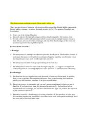 ETH 321 Week 3 Individual Assignment Business Forms Worksheet