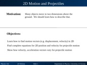 2D Kinematics and Projectile Motion