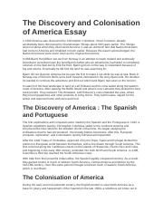The Discovery and Colonisation of America Essay.docx