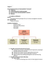 Chapter 2 Notes (Schools of Management Thought)
