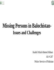 Issue of Missing Persons in Baluchistan