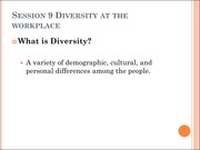 Session 9 Diversity at the Workplace