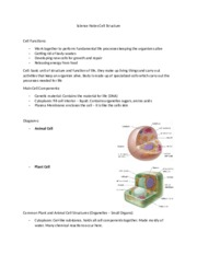 Science Notes Cell Structure