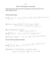 Math 55 Test #1 (Chapters 1-2) Spring 2014 SOLUTIONS