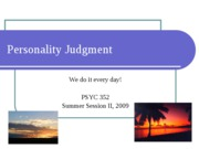 Personality Judgment POST 2009