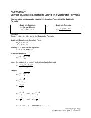 Answer Key Solving Quadratic Equation Using The Quadratic Formula.pdf